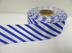 38mm Candy Stripe Ribbon Royal Blue and White 2 metres or 20 metre roll Barber Shop Diagonal